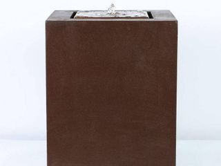 Aged Bronze Square 20in  H Fountain with lED light