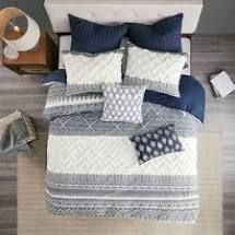 The Curated Nomad Natoma Navy Cotton Chenille Printed Comforter Set  Retail 133 99