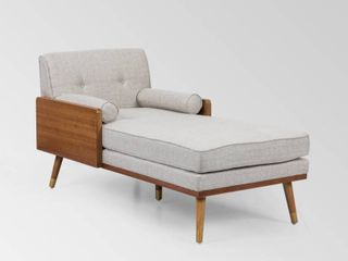Fortas Mid Century Modern Fabric Chaise lounge by Christopher Knight Home   32 00  W x 63 75  l x 33 50  H  Retail 493 99