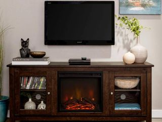 Walker Edison 58 in  Wood Media TV Stand Console with Fireplace