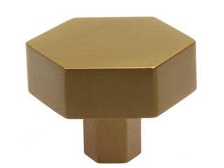 GlideRite 10 Pack 1 1 2 Inch Solid Hexagon Cabinet Knob Satin Gold
