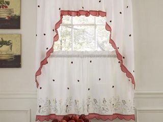 PAIR OF  Embroidered ladybugs Window Curtain Pieces