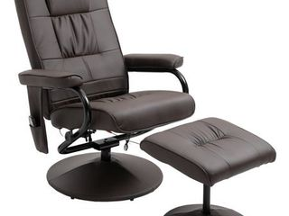 HOMCOM Massaging PU leather Recliner and Ottoman with leather Wrapped Base  Retail 267 99