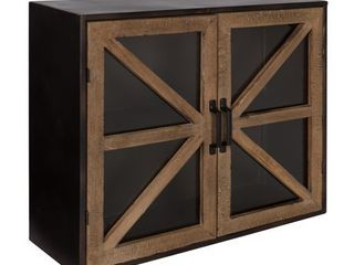 Kate and laurel Mace Wall Mounted Rustic Wood and Metal 2 Door Cabinet   24x8x20 Retail 169 99