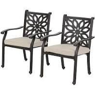 Outdoor Patio Extra Wide Armrest Cast Aluminum Dining Chairs with Cushion Set of 2 Frosted Surface  Retail 388 49