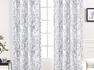 Driftaway Tree Branch Botanic Pattern Painting Room Darkening Thermal Insulated Grommet lined Window Curtains  Set Of Two Panels  Each Size 52 X84   Gray