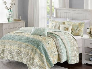 KING  CAl KING  loraine 6 Piece Cotton Sateen Printed Coverlet Bedding Set