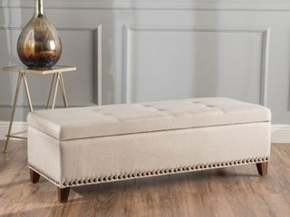 Gavin Tufted Fabric Rectangle Storage Ottoman Bench with Studs by Christopher Knight Home  Retail 183 99