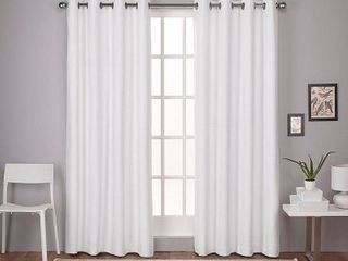 PAIR OF 63 x52  london Thermal Textured linen Grommet Top Blackout Window Curtain Panels White   Exclusive Home