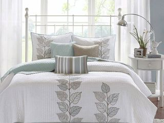 Blue Marissa Quilted Coverlet Set Queen 6pc