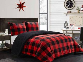 King 3pc Buffalo Plaid Royal Plush Comforter Set with Sherpa Reverse Red   Dearfoams