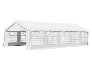 BOX 2 5  Outsunny 32  x 16  x 9 2  White Heavy Duty Party   Event Tent Awning or Carport   Garage Cover  with Water Resistant Fabric   Retail 618 99
