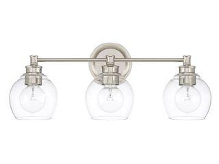 Capital lighting Mid century Collection Polished Nickel Glass Steel 3 light Bath Vanity light  Retail 220 00