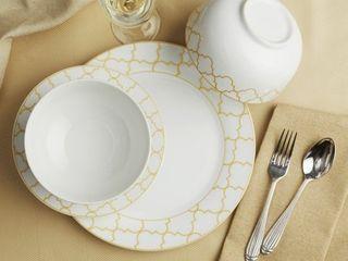 Safdie   Co  12 Piece Dinnerware Set  Gold  Jacquard
