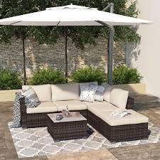 BOX 3 3 Outdoor Sectional 4 Piece Patio Furniture All Weather Wicker Furniture Sofa Couch Set with Waterproof Cover and Clips  Retail 846 99