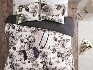 King California King 5pc Hannah Floral Print Comforter Set   Black White