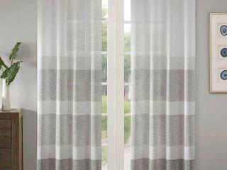 PAIR OF Madison Park Jasper Woven Faux linen Striped Window Sheer