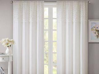 PAIR OF 84 x50  laurie Bessie Horizontal Ruffle Curtain Panel White