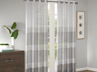 PAIR OF 84 x50  Jacey Woven Striped Sheer Window Panel Gray
