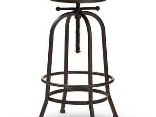 Baxton Studio Aline Vintage Rustic Industrial Style Wood and Rust Finished Steel Adjustable Swivel Bar Stool