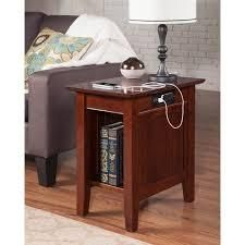 Nantucket Chair Side Table with Charging Station  Walnut