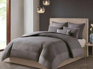 N Natori Hanae King Cotton Blend Yarn Dyed 3 Piece Comforter Set Bedding