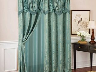 Rosalie Floral Damask Textured Jacquard 54 x 84 in  Single Rod Pocket Curtain Panel w  Attached 18 in  Valance in Blue