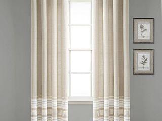 Set of 2 84 x40  Nantucket Yarn Dyed Cotton Tassel Fringe light Filtering Window Curtain Panels Taupe White   lush Decor