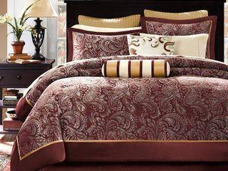 12 Piece luxury Comforter Set in Red Jacquard  King