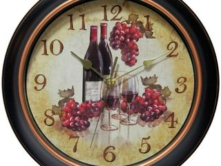 12  Valencia Wine and Grape Round Wall Clock Black   Beige   Infinity Instruments