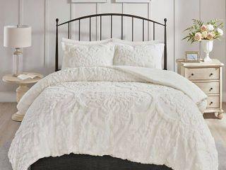 FUll QUEEN Madison Park Aeriela Tufted Cotton Chenille Damask Comforter Set Retail 139 94