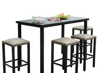 5pc 56 x30  Metal Table   Rattan Bar Stools   Captiva Designs
