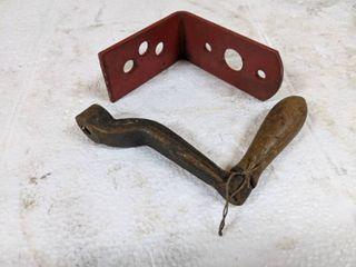Red l Bracket   vintage Crank Handle