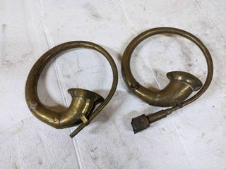 2  Ford Model T Antique Brass Car Bulb Horns