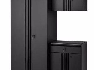 Husky Welded 54 in  W x 75 in  H x 19 in  D Steel Garage Cabinet Set in Black  3 Piece  matte black power coating Retail   699 99