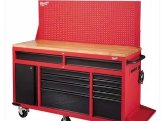 61 in  11 Drawer 1 Door 22 in  D Mobile Workbench with Sliding Pegboard Back Wall in Red Black Retail   1029 00