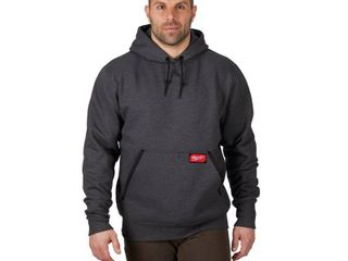 Milwaukee Men s large Gray Heavy Duty Cotton Polyester long Sleeve Pullover Hoodie large
