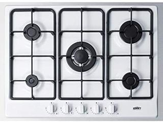 Summit Appliance GC5271WTK30 Gas 30  Wide 5 Burner Cooktop  5 Sealed Sabaf Burners  Wok Ring Included  Continuous Cast Iron Grates  Centralized Controls  Painted Enamel Steel Surface  Curved Design Retail   572 50