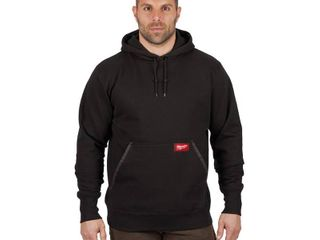 Milwaukee Men s large Black Heavy Duty Cotton Polyester long Sleeve Pullover Hoodie