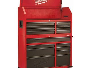 46 in  16 Drawer Steel Tool Chest and Rolling Cabinet Set  Textured Red and Black Matte Retail   949 00