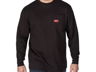 Milwaukee Men s large Black Heavy Duty Cotton Polyester long Sleeve Pocket T Shirt