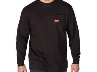 Milwaukee Men s 3X large Black Heavy Duty Cotton Polyester long Sleeve Pocket T Shirt Retail   24 99