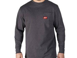 Milwaukee Men s large Gray Heavy Duty Cotton Polyester long Sleeve Pocket T Shirt Retail   24 97