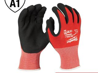 Milwaukee large Red Nitrile level 1 Cut Resistant Dipped Work Gloves  6 Pack