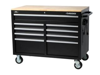 46 in  W 9 Drawer  Deep Tool Chest Mobile Workbench in Gloss Black with Hardwood Top Retail   349 00