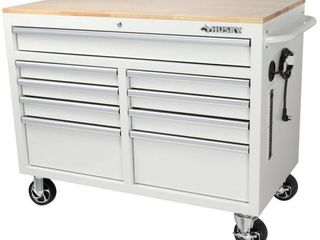 46 in  W 9 Drawer  Deep Tool Chest Mobile Workbench in Gloss White with Hardwood Top Retail   398 00