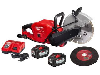 Milwaukee M18 FUEl ONE KEY 18 Volt lithium Ion Brushless Cordless 9 in  Cut Off Saw Kit W   2  12 0Ah Batteries   Rapid Charger RETAIlS FOR 1599 00