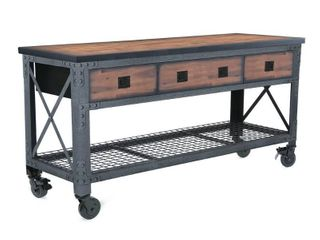 72 in  x 24 in  3 Drawers Rolling Industrial Workbench and Wood Top Retail   398 00