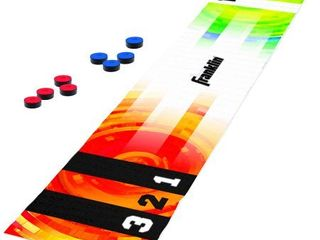 Franklin Sports Shuffleboard Table Game   Indoor or Outdoor Shuffleboard Mat for Kids and Adults   Includes 8 Pucks   6 Foot Mat That Pucks Easily Slide On   Rolls Up For Storage