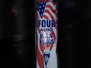 6  X 4  American Flag Made In Usa Hand Held Set Of 4 Gold Plastic Staff